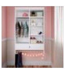 armário roupeiro infantil com gaveta suspenso lilies móveis