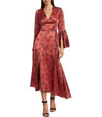 cinq à sept women's kasha firecracker print asymmetric silk dress - marine shimmer - size 10