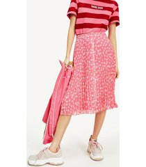 tommy hilfiger women's pleated button skirt floral print / glamour pink - m