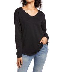 women's caslon shirttail tunic, size medium - black