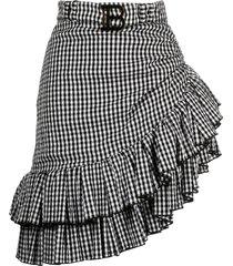 balmain belted ruffled asymmetric skirt - black