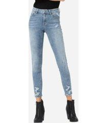 vervet women's mid rise distressed hem skinny crop jeans