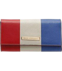 billetera larga con tapa rojo multicolor sarah