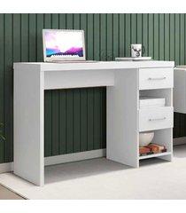 mesa escrivaninha 2 gavetas duna new branco - móveis germai