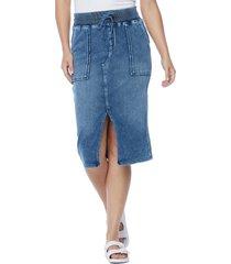 wash lab denim front slit drawstring denim skirt, size small in tropical blue at nordstrom