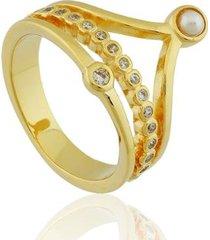 anel semi jóia banhado 18k feminino