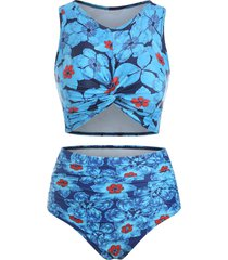 flower print twist front ruched tankini swimsuit