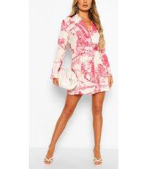landscape print belted double breasted blazer dress, pink