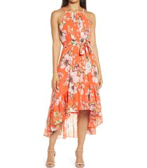 women's vince camuto floral chiffon halter dress, size 14 - red