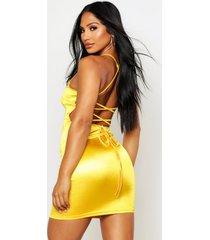 satin square neck strappy back bodycon dress, yellow