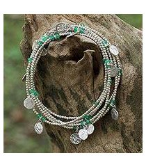 onyx wrap bracelet, 'rain charms in green' (thailand)