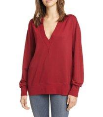 women's rag & bone flora sweatshirt, size medium - red