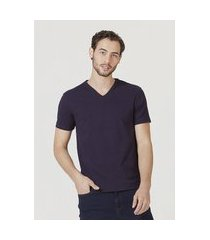 camiseta hering manga curta super slim em algodáo com elastano azul
