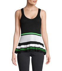 cliché women's striped cotton-blend peplum top - black multi - size s