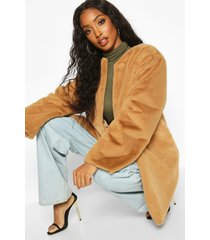 collarless faux fur coat, camel