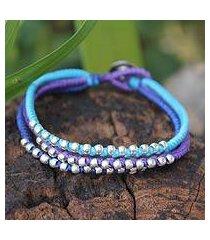 silver accent braided bracelet, 'cool thai river' (thailand)