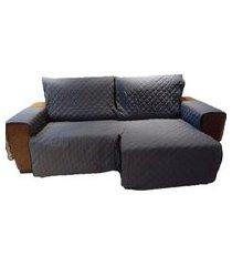 protetor para sofá de 2 módulos microfibra matelado retrátil reclinável com assento de 2,00m chumbo