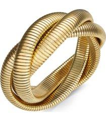 gold-tone herringbone chain twisted bangle bracelet