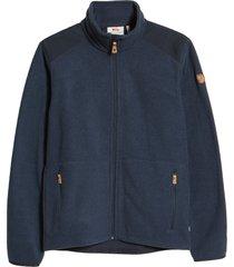 men's fjallraven sten fleece zip sweater, size small - blue