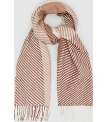 reiss bailey - lambswool checked scarf in rose, womens