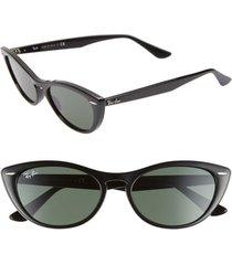 ray-ban nina 54mm cat eye sunglasses in black/green solid at nordstrom