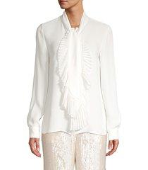 lafayette 148 new york women's bates pleated neckline silk blouse - cloud - size xl