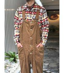 hombres casual corduray strapped texture strap pantalones overol pantalones con peto