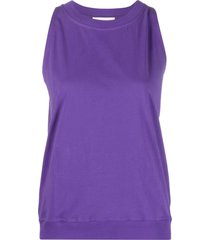 alexandre vauthier crystal-logo tank top - purple