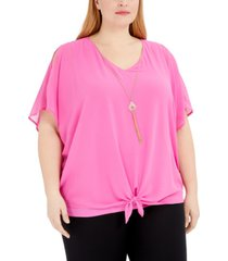 jm collection plus size tie-front necklace top, created for macy's
