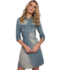 vestido chemise zaiko jeans 3/4 1844 feminino - feminino