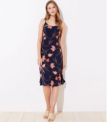 loft floral smocked back strappy midi dress