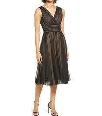 connected apparel fit & flare dress, size 10 in black/gold at nordstrom