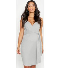 maternity strappy tie front bodycon dress, grey