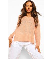 baggy trui met zijsplit, peach