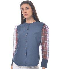 blusa para mujer en chambray azul color azul talla l