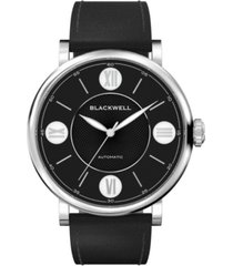 blackwell black dial with silver tone steel and black leather watch 44 mm