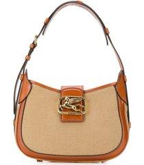 etro pegasus buckle shoulder bag - brown