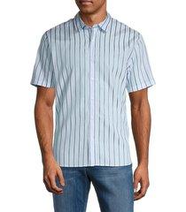 vince men's vertical striped shirt - blue - size xl
