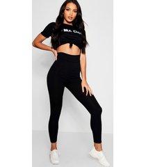 basic jumbo geribde legging met hoge taille, zwart