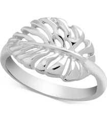essentials open leaf ring in fine silver-plate
