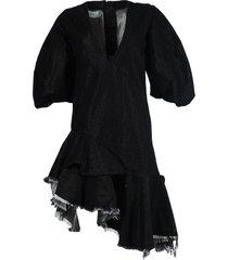 asymmetric hemline denim dress