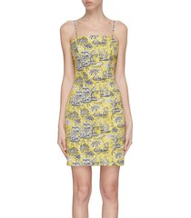 'basset' graphic print slip dress