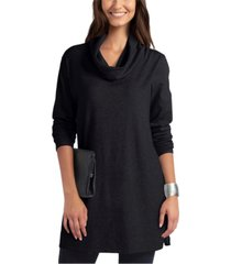 women's cowl neck mix media sweater tunic
