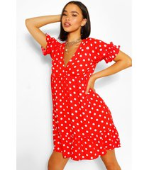 chiffon polka dot ruffle smock dress, red