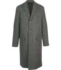 wool single-breasted coat grey
