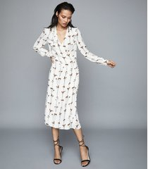 reiss renae - floral printed wrap dress in ivory, womens, size 12