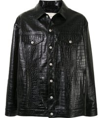 1017 alyx 9sm crocodile-effect embossed leather jacket - black