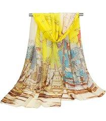 donna sciarpa lunga e scialle in seta georgette morbida ad alta qualità con stampa di quadro ad olio