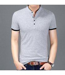 camiseta de manga corta slim para hombre -gris