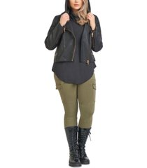 black tape plus size faux leather moto jacket